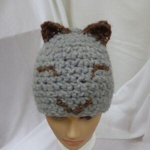 Wełniana czapka -kot