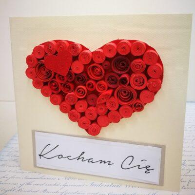 """Kartka Walentynkowa """"Serce z sercem """""""
