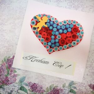 "Kartka Walentynkowa ""Kolorowe serce"""