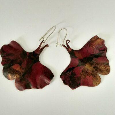 Miedziane kolczyki w formie motylków